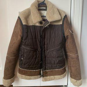 Zara shearling and suede men's hunters jacket
